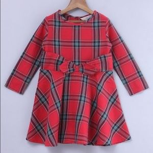 Other - Red & Green Plaid Bow A-Line Dress - Toddler Girl